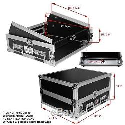 ProX T2MRLT DJ Rack 2U Bottom x 10U Mixer Slanted Top Flight Case withLaptop Shelf