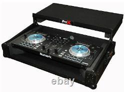 ProX X-MXTPRO3LTBL Black Travel Flight Case For Mixtrack Pro 3 with Laptop Shelf