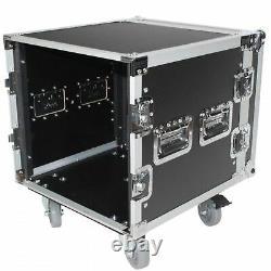 ProX XS-10R18W 10U Space Amp Rack Mount ATA Flight Case 18 Inch Depth W-Caste