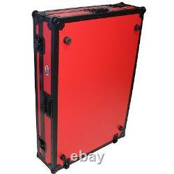 ProX XS-PRIME4 WRB Flight Road Case for Denon Prime 4 w Wheels Black on Red