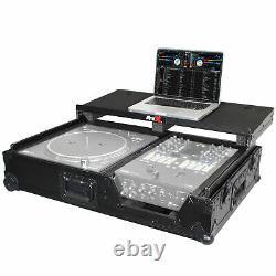 ProX XS-TMC1012WLTBL Single Turntable & Mixer Case WithLaptop Shelf & Wheels Black