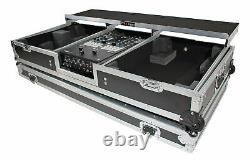 ProX XS-TMC1012WLTFBTL Flight Case+Shelf+Wheels for (2) Turntables+10/12 Mixer