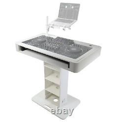 ProX XZF-DJCTW White Control Tower DJ Controller Booth Podium Stand & Hard Cases
