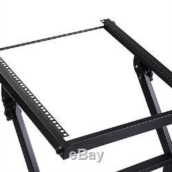 Professional 12U Rack Mount DJ Equipment Stand Studio Mixer Case Rolling Cart