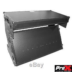 Prox Z-Style Folding DJ Table ATA Flight Road Case with Wheels Black