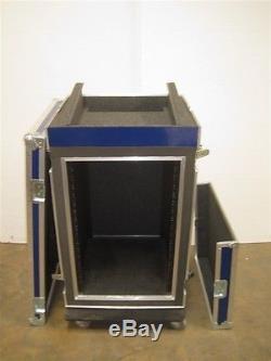 Road Case 12U Slant Mixer Rack/18U Vertical Rack w Rear Door Access and Casters