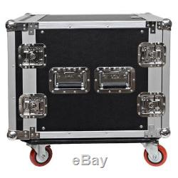 Seismic Audio 10 SPACE RACK CASE Amp Effect Mixer PA/DJWheel/Casters