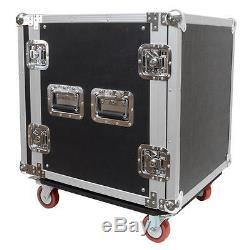 Seismic Audio 12 SPACE RACK CASE Amp Effect Mixer PA/DJ PRO Casters