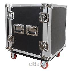 Seismic Audio 12 SPACE RACK CASE for Amp Effect Mixer PA DJ PRO with Casters