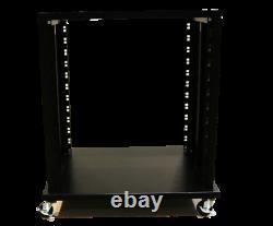 Shallow Professional Grade 12U A/V Equipment Studio Rack with Locking Casters
