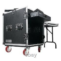 Sound Town 12U DJ Rack Case with11U Slant Mixer Top Casters Lock Drawer STMR-12TD2