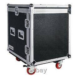 Sound Town 12U DJ RackCase with12USlant Mixer Top Casters Locking Drawer STMR-12D2