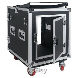 Sound Town 12U PA DJ Rack/Road Case with 12U Slant Mixer Top, Table STMR-S12UWT