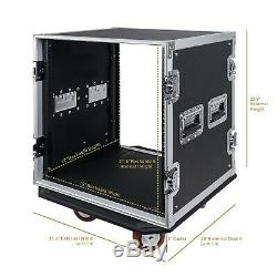 Sound Town 12U Rack Case, 12 Space 17 Depth Plywood Metal Corners (STRC-12UW)