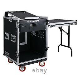 Sound Town 14U DJ Rack Case with11U Slant Mixer Top Casters Lock Drawer STMR-14TD3