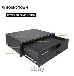 Sound Town 16U DJ Rack Case with11U Slant Mixer Top Casters Lock Drawer STMR-16TD3