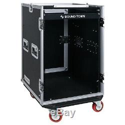 Sound Town 16U Rack Case with 11U Slant Mixer Top 20 Rackable Depth STMR-16UWT