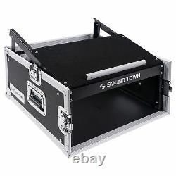 Sound Town 4U Rack Road Case 13U Slant Mixer Top 23.5'' Rackable Depth STMR-4U