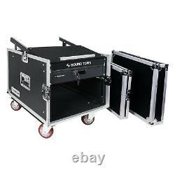 Sound Town 8U DJ Rack Case with13U Slant Mixer Top Casters Locking Drawer STMR-8D2