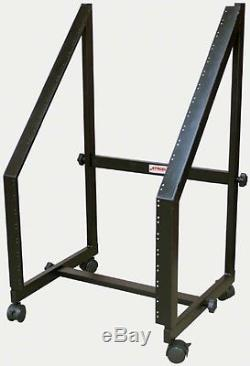 Stageline SR13 20-Space Rolling Mixer Rack Mount Studio Stand with Casters