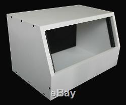 White 4u angled 19 inch wooden rack unit/case/cabinet for studio/DJ/recording